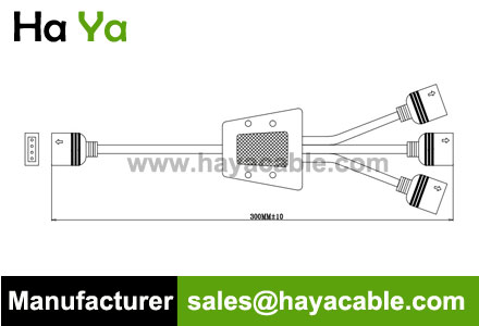 4 PIN Female 3 Way Y Splitter Cable